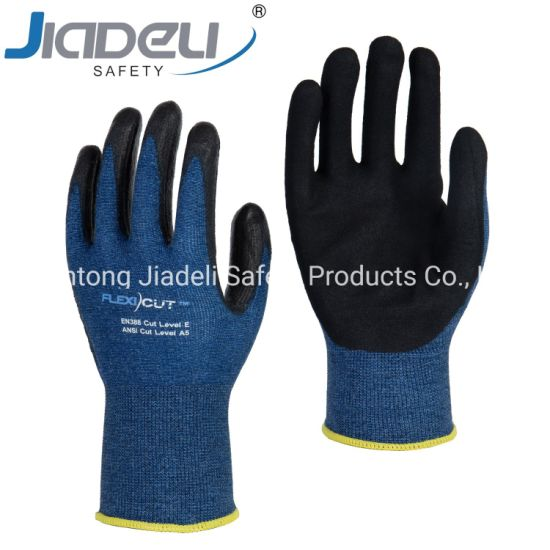 BSCI Certified Manufacturer Custom Logo Personal Hands Safety 15 Gauge Blue A5 Shell, Black Sandy Latex on Palm