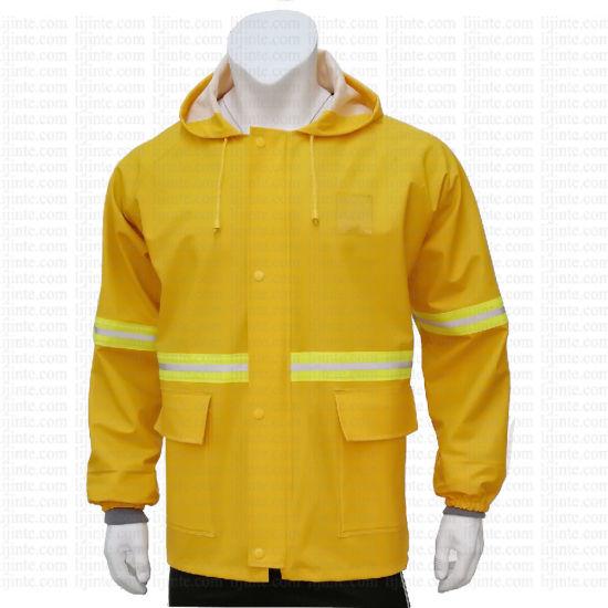 Men's Waterproof Yellow Workwear PU Rain Jacket