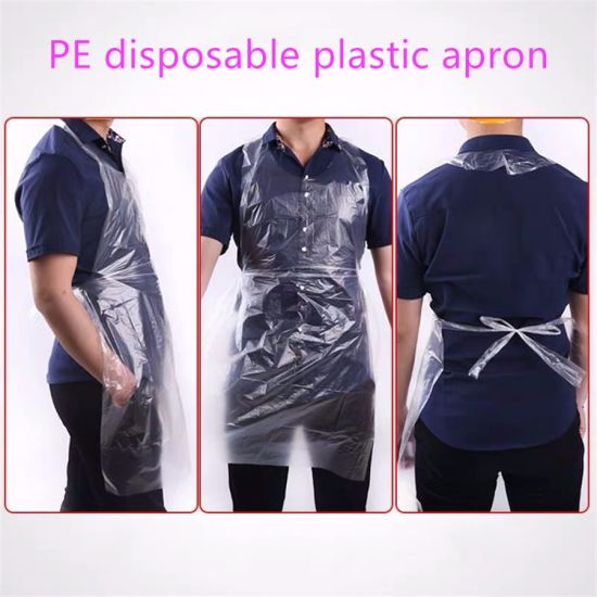 Multifunctional Waterproof Disposable PE Polythene Plastic Apron for Kitchen Use with TUV Sud & SGS Certificate