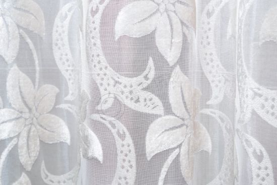 Modern White Half Shading Window Curtain 100% Polyester Upholstery