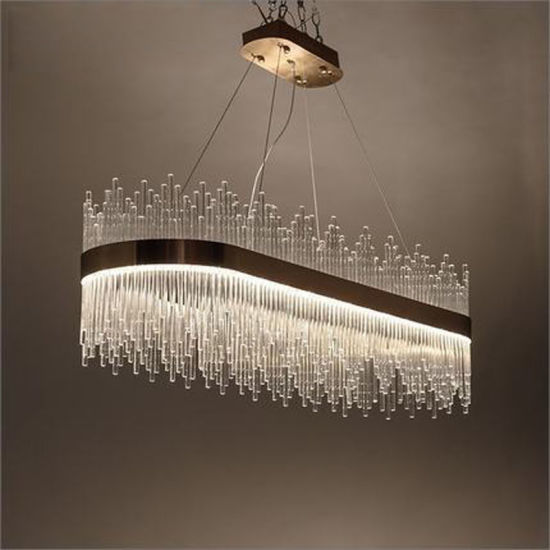 Crystal Glass Restaurant Living Room Oval Pendant Lamp