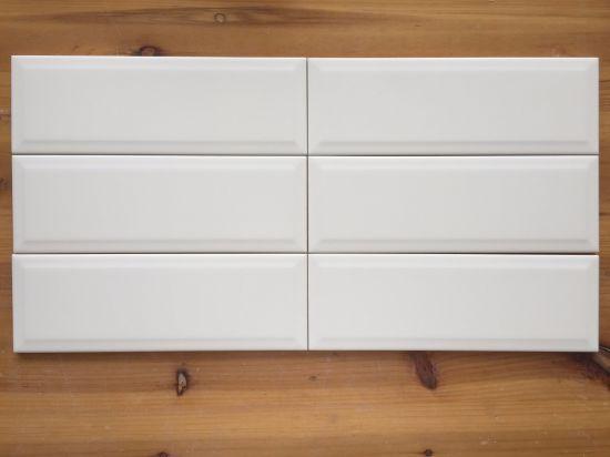 4 X12 10x30cm White Matte Bevel Metro Tile For Bathroom Kitchen Wall