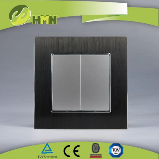 European standard TUV CE CB certified Aluminum double one way black switch