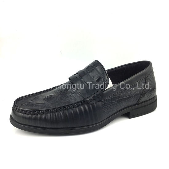 Crocodile Pattern Black Leather Mens Dress Loafer Shoes  pictures & photos
