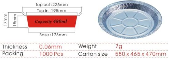 Aluminum Foil Round Dish Pan for Kitchen Use