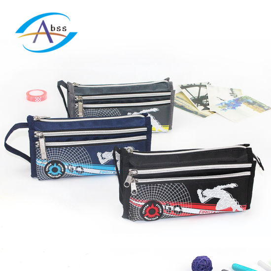 3 Zippers Fabric Pencil Case For Teenage China Pencil Bag