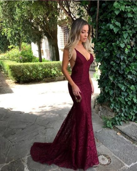 Lace Prom Gown Purple Wine Backless Party Bridal Evening Dress Ld15266 pictures & photos