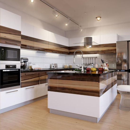Prima Housing New Design White Lacquer Kitchen Cabinets With Wood Grain UV