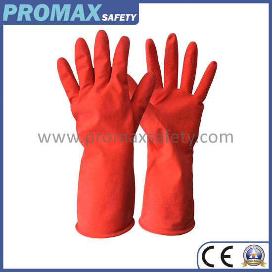 50g Waterproof Long Cuff Household Rubber Latex Kitchen Gloves pictures & photos