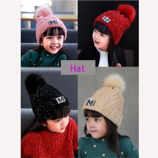 High Quality Fur Ball Beanie Hat POM Poms Knitting Women Hats Wholesale  Winter Kids Cap b625341eab