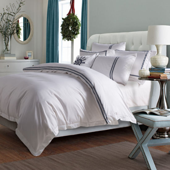 Luxury Hotel Textile Queen Size 100% Cotton Embroidered Hotel Bedding