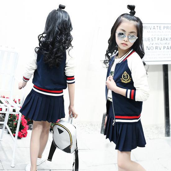 9abe1d66269 China Girls′ College Wind Pleated Skirt Set Navy Blue School Uniform ...