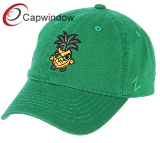 Green Cotton Dad Baseball Cap with Custom Flat Embroidery (65050099)