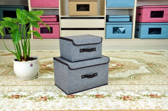 Home Organizers Fabric Covered Non Woven Cardboard Foldable Storage Boxes pictures & photos