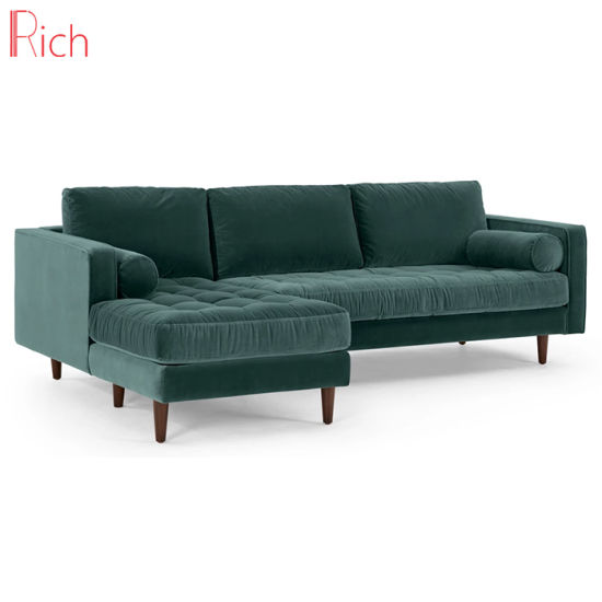 Living Room Furniture Sectional Couch Green Velvet Corner Sofa