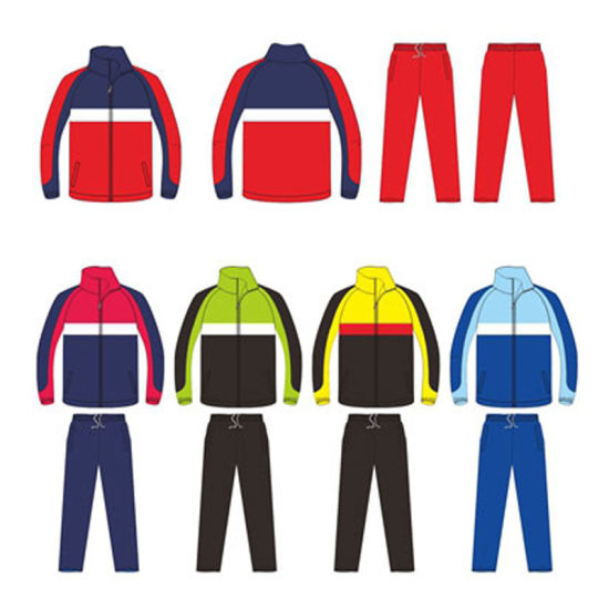 Full Zip Colorful Tracksuit Sportswear with Logo Designed