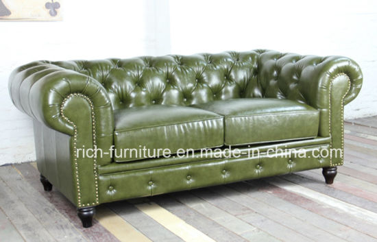 Classic Vintage Leather Chesterfield Sofa For Living Room