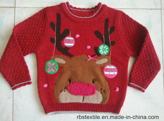 China Girls Reindeer Jumper Acrylic True Knitted Sweater China