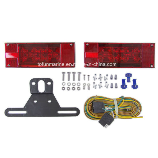 China Waterproof, Red, LED Trailer Light Kit with 25′ Wiring Harness on
