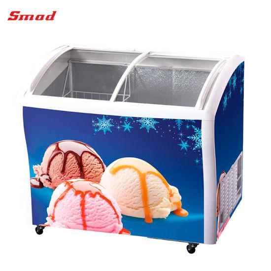 Sliding Glass Door Ice Cream Display Chest Freezer for Shop