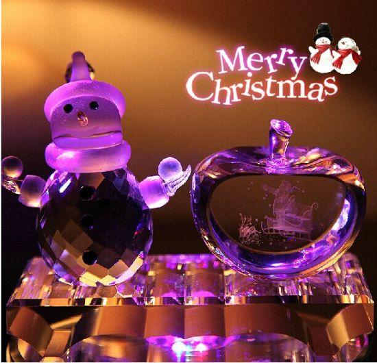 2016 Crystal Glass Apple Craft for Christmas Gift