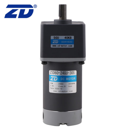 Low Shaft Speed Reversible Electric DC 60W 90mm Frame Gear Motor with Eccentric Output Shaft