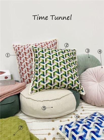 Geometrical Fake Linen Cushion / Print Cushion