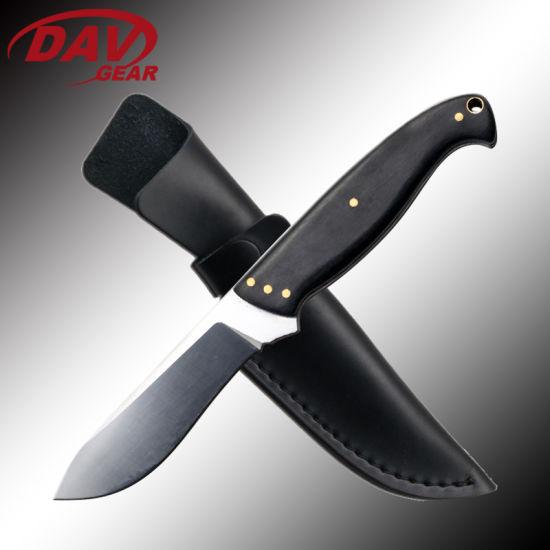 "8.5""Overall Length Fixed Blade Knife Satin CNC Grinding Blade and Pakkawood Handle"