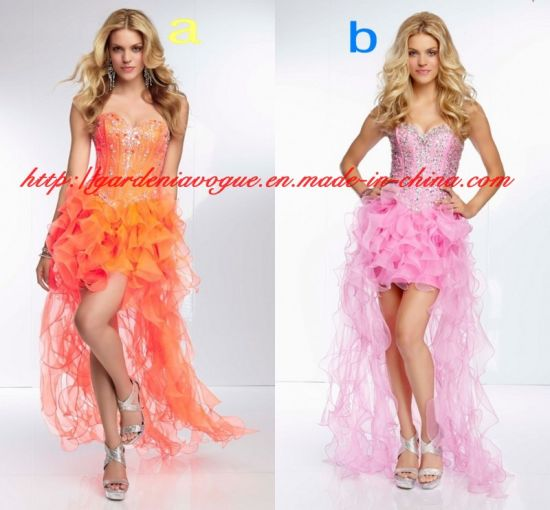 Orange Sweetheart Sheer Tulle Short Front and Long Back SGS Graduation Girls Homecoming Dress (GDNY115)