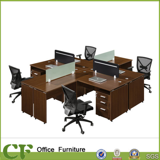 L Shaped Table Top Office Workstation With 4 Seater