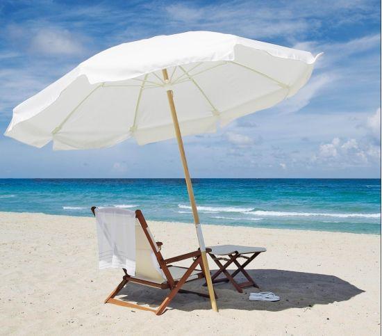 China Folding Wooden Beach Sun Umbrella