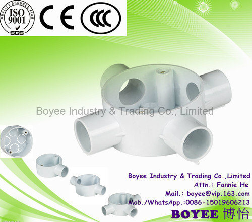 Four Way Electrical PVC Pipes Accessories Circle Box