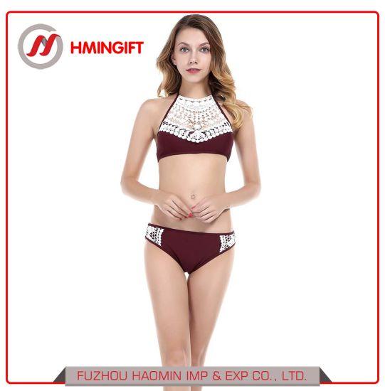 8b4d937211527 China 2018 Sexy Lace Halter Neck Bikini Red Ladies′ Split Summer ...