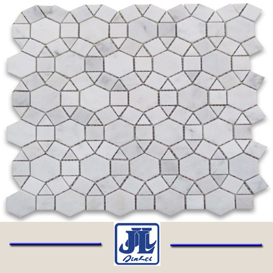 Nature Stones Carrara White Marble Mosaic Fan Shaped Tile in Mesh Mounted for Interior Decoration