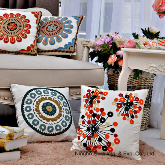 Embroidery Cotton Car Office Sofa Cushion Case Decorative Pillow pictures & photos