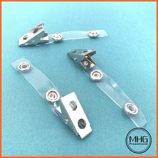 Clear Plastic Vinyl Badge Strap Clip