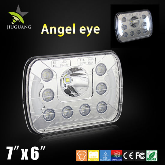 Wholesale LED Auto Lamp 6X7 Angel Eyes Halo DRL Driving 12V 55W 5X7 7inch LED Head Light