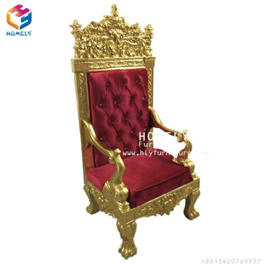 Wholesale European Wooden Single King Throne Chairs For Outdoor Wedding