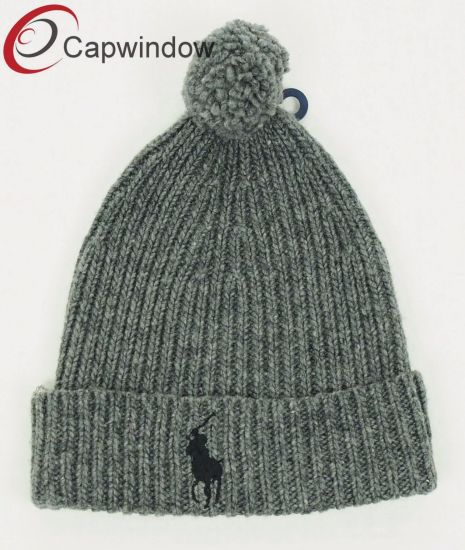 1cc39a2ba2b 100% Acrylic Beanie  Knitted Hat with Flat Embroidery and Custom Woven label