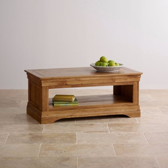Rustic Vintage Oak Solid Wood Coffee Table