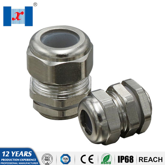 """Brass Nickel 3//4/"""" NPT Strain Relief 1//2/"""" Cord Grip Cable Gland Connector"""