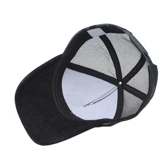 China Custom Plain Blank Black Suede Mesh Cap Trucker Hat China