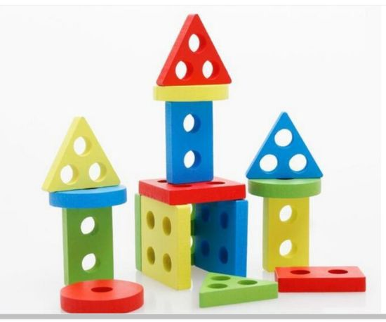 Wooden Educational Toys for Toddlers, Wooden Shape Color Sorting Preschool Stacking Blocks
