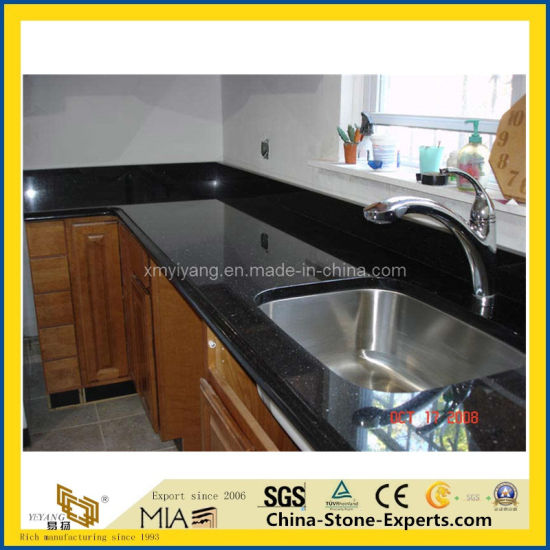 Black Galaxy Granite Countertop For Kitchen And Bathroom Decoration