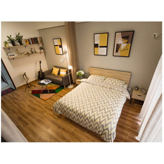 Natural Color Hotel Solid Wood Double Japanese Style Bed Hotel Bedroom  Furniture
