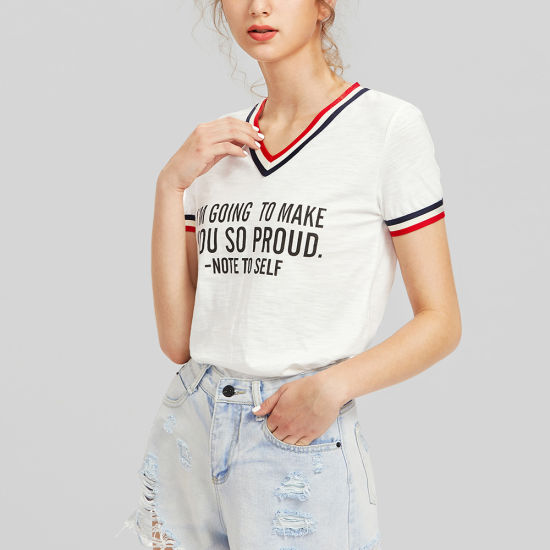 V Neck Stripe Trim Women T-Shirt pictures & photos
