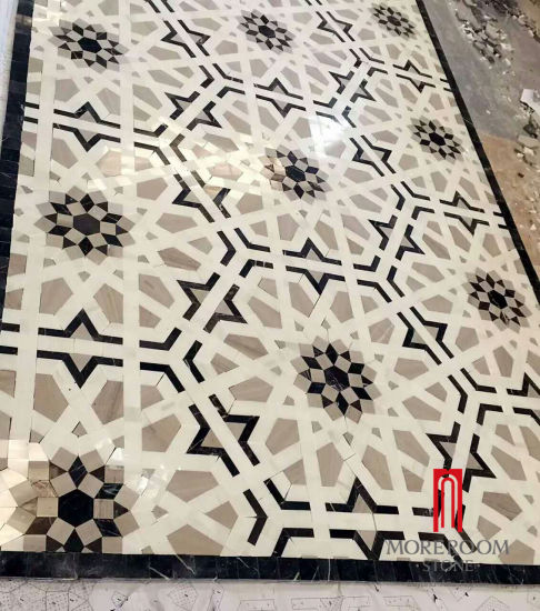 Classical Marble Stone Mosaic Inlay Waterjet Cutting Shape Tile For Floor