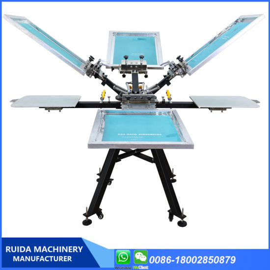 Wholesale 4 Color T Shirts Clothing Screen Printing Machine with Micro Registration