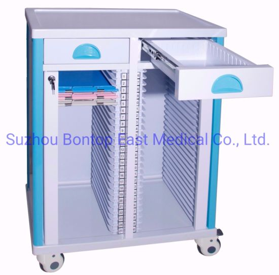 Hot Sale Two Rows Hospital OEM ABS Patient Nursing Movable Plastic File Record Case History Folder Chart Holder Trolley/Cart