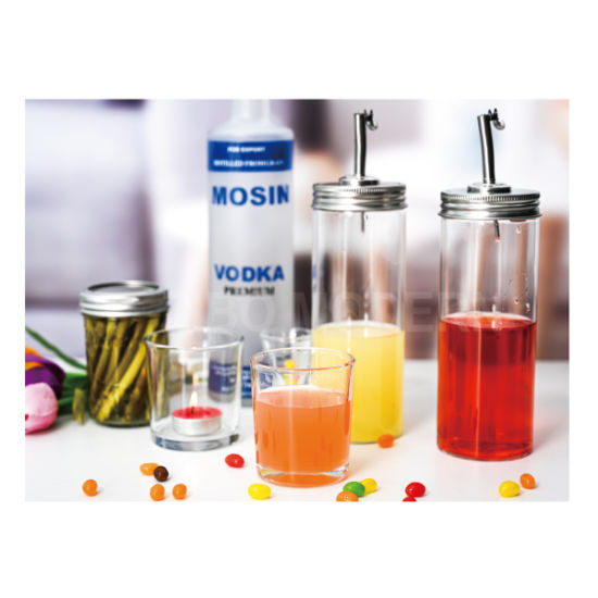 16/20 Oz Quality Borosilicate Glass Bottle Dispenser, Oil Cruet, Clear Borosilicate Glass Bottle with Stainless-Steel Pour Spout